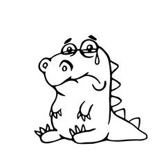 cute sad dragon. vector illustration