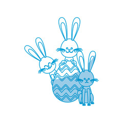 easter rabbits egg decorative celebration vector illustration