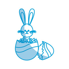 easter bunny egg broken celebration party spring vector illustration