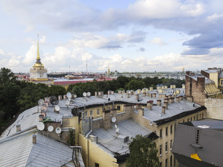Saint  Petersburg, Russia.  August 14, 2016: View from the roofs and the background of the Architectural fragment of the building of the Admiralty