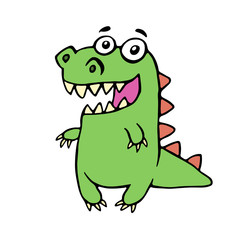 funny smiling dinosaur. vector illustration