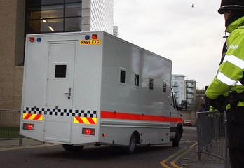 A police van transporting  Wright who is accused of the murder of five prostitutes in Ipswich arrives at Ipswich Crown Court