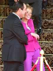 SPAIN'S DEFENCE MINISTER BONO JOKES WITH DEPUTY PM FERNANDEZ DE LA VEGA TALK DURING OPENING CEREMONY ...