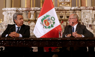 Ecuador's President-elect Moreno and Peru's President Kuczynski meet at the government palace in Lima