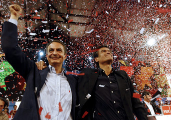 Spain's PM Zapatero and Aguilar the Socialist Party's candidate for the upcoming European Parliament elections