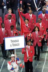 TRINIDAD AND TOBAGO OLYMPIC TEAM ENTER STADIUM DURING OPENING CEREMONY.