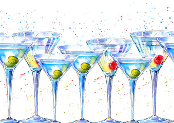 Seamless border of a Martini with cherry and olive.Picture of a alcoholic drink.Watercolor hand drawn illustration.