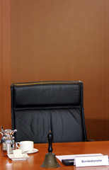 The chair of German Chancellor Gerhard Schroeder is pictured before the start of the weekly cabinet ...
