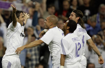 Real Madrid's Raul celebrates after scoring a goal against Barcelona during match in Madrid