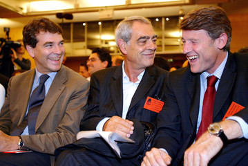 French Socialists Montebourg Emmanuelli and Peillon attend Partys National Council in Paris.