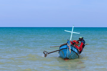 Fisherman drive small boat