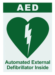 AED Automated External Defibrillator Inside On Site Text, Green Icon, White Sign Sticker Label Isolated Vertical, Cardiopulmonary Resuscitation Heart Attack Emergency First Aid Concept