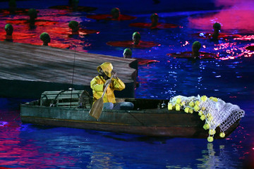 Cirque du Soleil performs at the World Aquatic Championships opening ceremonies in Montreal.