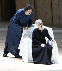 """Singers Rebeka and Cutler perform during a dress rehearsal of Gioachino Rossini's opera """"Moise et Pharaon"""" in Salzburg"""