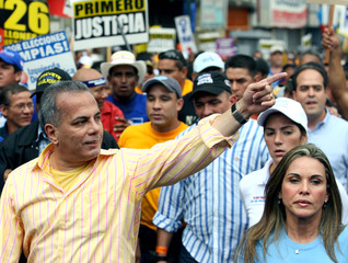 Venezuelan presidential candidate Rosales marches in Caracas