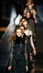 Models present creations as part of Etro's Fall/Winter women's collection in Milan