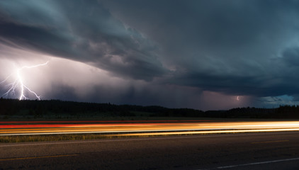 Fall Thunderstorm Late Night Yellowstone Park Road Lightning Strike