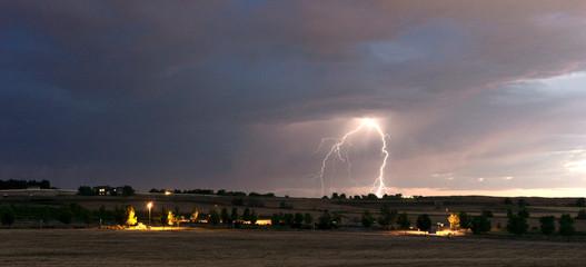 Thunderstorm Edge Late Afternoon Storm Lightning Strike Idaho Countryside
