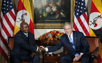 U.S. President George W. Bush meets Uganda's President Yoweri Museveni at the United Nations General Assembly in New York