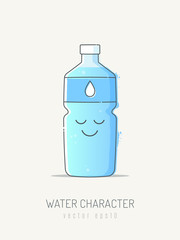 Happy enjoying water bottle cartoon mascot character with smiley face. Vector illustration in line art scribble style