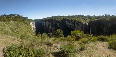 Panoramic view of Waterfall in Itaimbezinho Canyon at Aparados da Serra National Park - Cambara do Sul, Rio Grande do Sul, Brazil