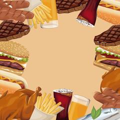 poster border fast food different vector illustration