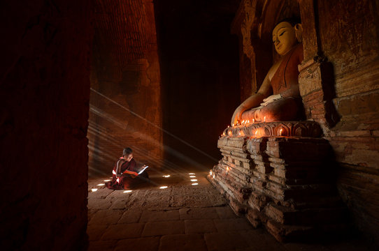 Novice monks in the plain of bagan on during sunrise,Myanmar ancient,Myanmar religion,