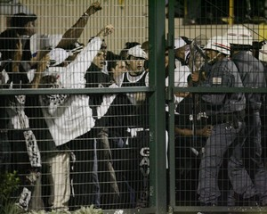 Corinthians fans riot after their loss to River Plate in their third round Copa Libertadores match