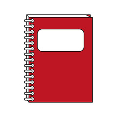 color contour cartoon red notebook spiral closed with label in cover vector illustration