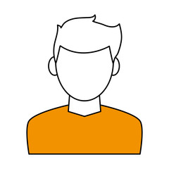 color contour cartoon faceless half body man with t-shirt and hairstyle vector illustration