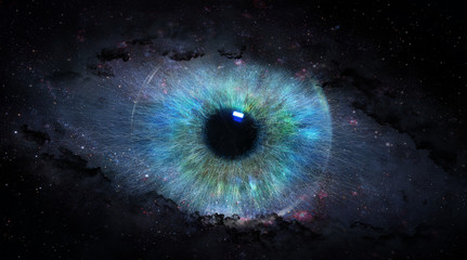 Fototapeten Iris open eye in space