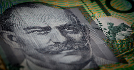 Extreme closuep of Sir John Monash portrait printed on Australia one hundred dollars banknote with shallow depth of field