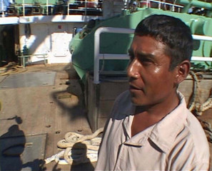 Video grab shows Mexican fisherman Ordonez speaking to journalists after arriving in Marujo