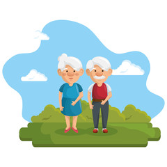 Old people at the park with green bushes and blue sky over white background. Vector illustration.