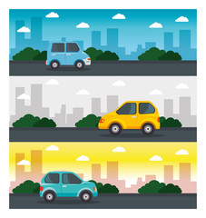 Colorful design of cars, streets, green bushes and city skyline with white frame. Vector illustration.