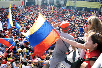 THOUSANDS OF PRESIDENT CHAVEZ SUPPORTERS GATHER IN CARACAS.
