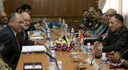 Members of Indian delegation and their Pakistani counterparts attend meeting in New Delhi