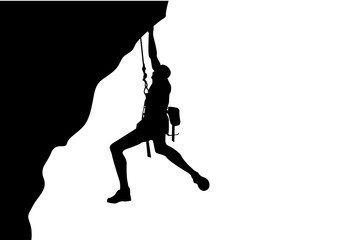 a man doing rock climbing on white background.