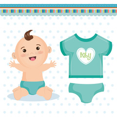 Cute happy baby boy with blue diaper and teal clothing over white dotted background. Vector illustration.