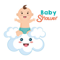 Cute baby boy sitting on kawaii cloud over white background. Vector illustration.