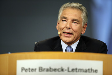 Nestle Chairman Brabeck-Letmathe addresses the firm's annual general meeting in Lausanne