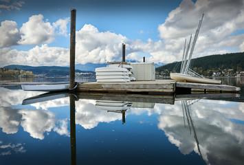 Rocky Point Park, Port Moody. Sailboats on a wharf in Rocky Point Park, Port Moody, British Columbia.
