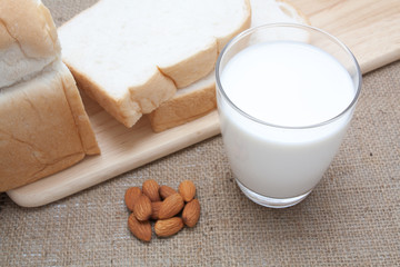 glass of milk and almond sliced bread