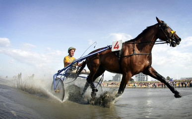Dutch jockey Snoek crosses the finish line to win the 8th race at traditional horse and trotter race meeting in Duhnen near Cuxhaven