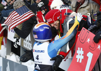 Hamlin of the U.S. celebrates her win with her mother at the FIL Luge World Championships in Lake Placid