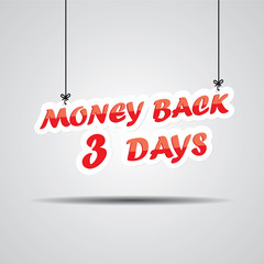 Money back 3 days Sign Hanging On Gray Background.