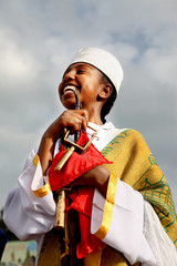 A girl smiles during the Meskel Ethiopian Orthodox Churches' annual religious ceremony in Addis Ababa