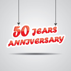 50 years anniversary Sign Hanging On Gray Background