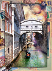 Garden Poster Imagination Postcards stamped vintage holiday and tourism in Italy, in Venice series