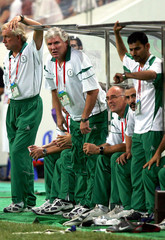 Saudi's team coach Gerard Van Der Lem reacts during match with Iraq in China's Chengdu.